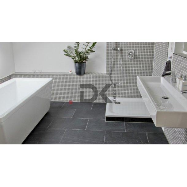 Hvide fliser badeværelse sort Klinker Badeværelse